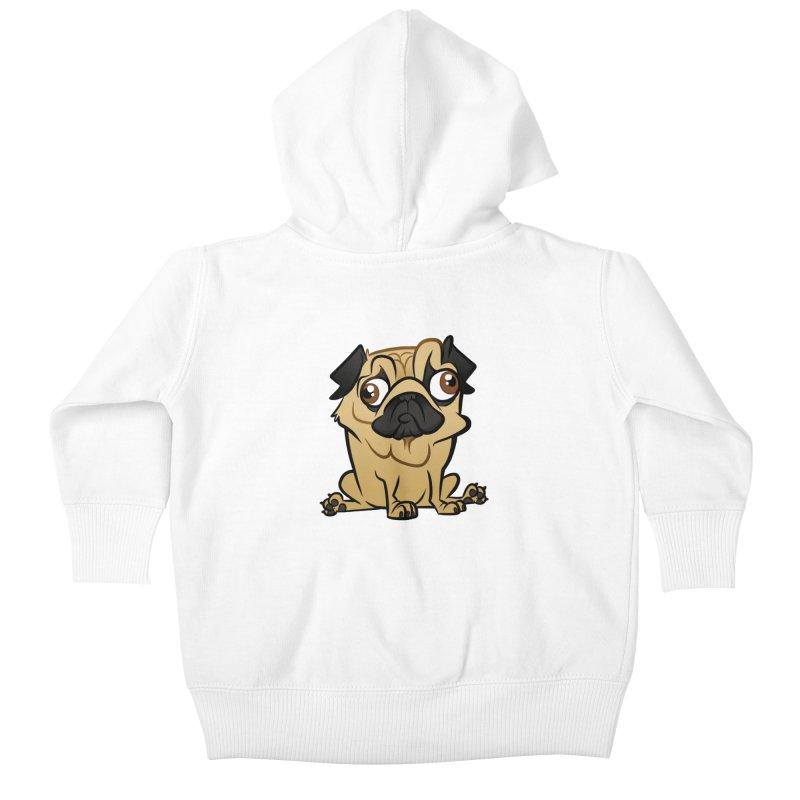 Pug Kids Baby Zip-Up Hoody by binarygod's Artist Shop