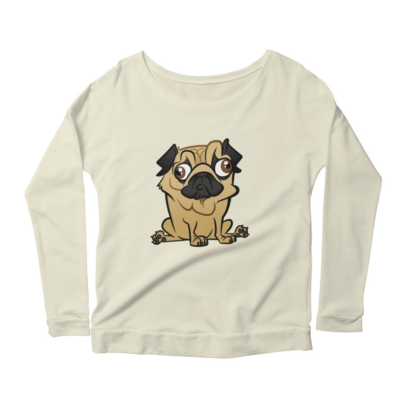 Pug Women's Scoop Neck Longsleeve T-Shirt by binarygod's Artist Shop