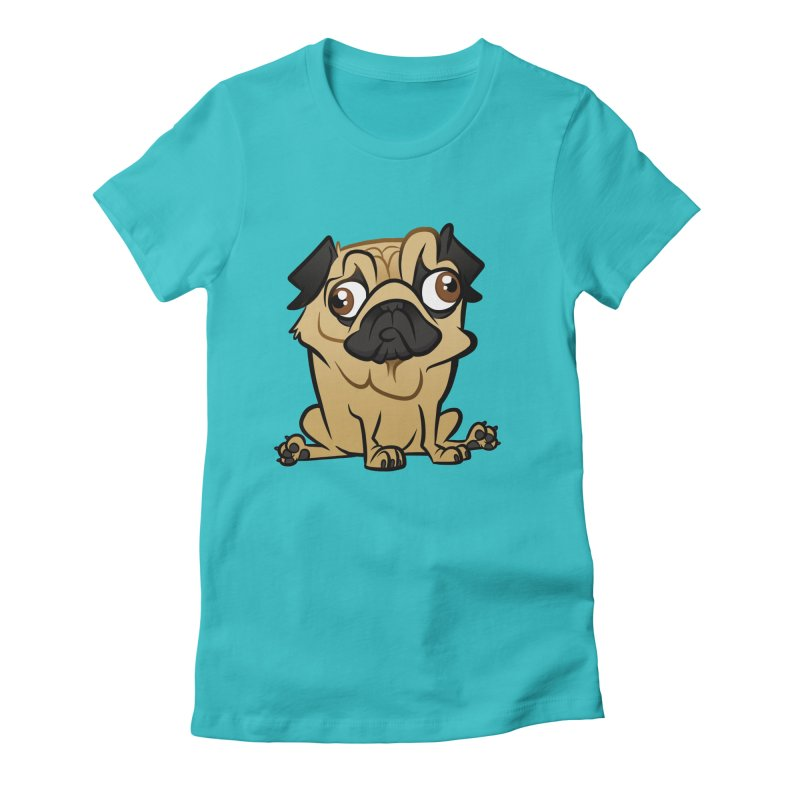 Pug Women's Fitted T-Shirt by binarygod's Artist Shop