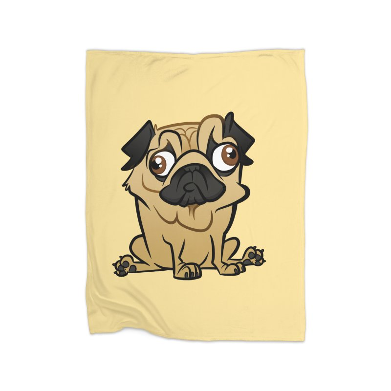 Pug Home Fleece Blanket Blanket by binarygod's Artist Shop