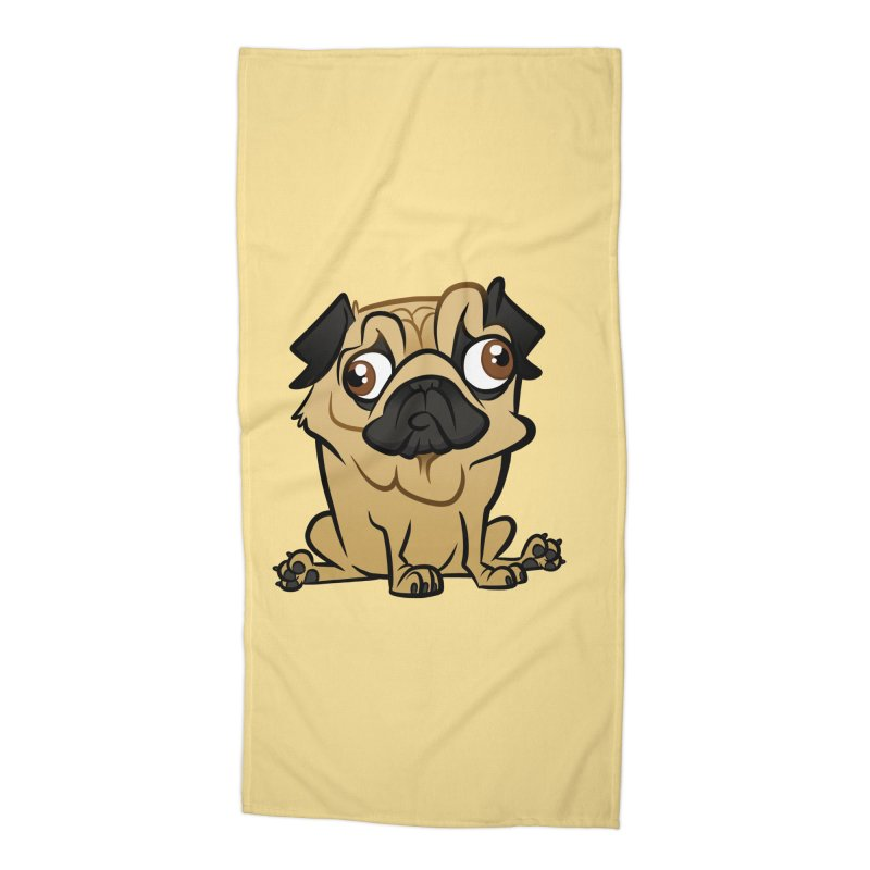 Pug Accessories Beach Towel by binarygod's Artist Shop