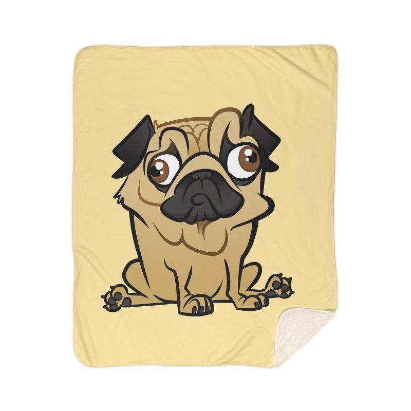 Pug Home Sherpa Blanket Blanket by binarygod's Artist Shop