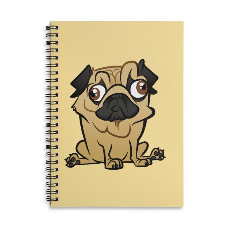 Pug Accessories Lined Spiral Notebook by binarygod's Artist Shop