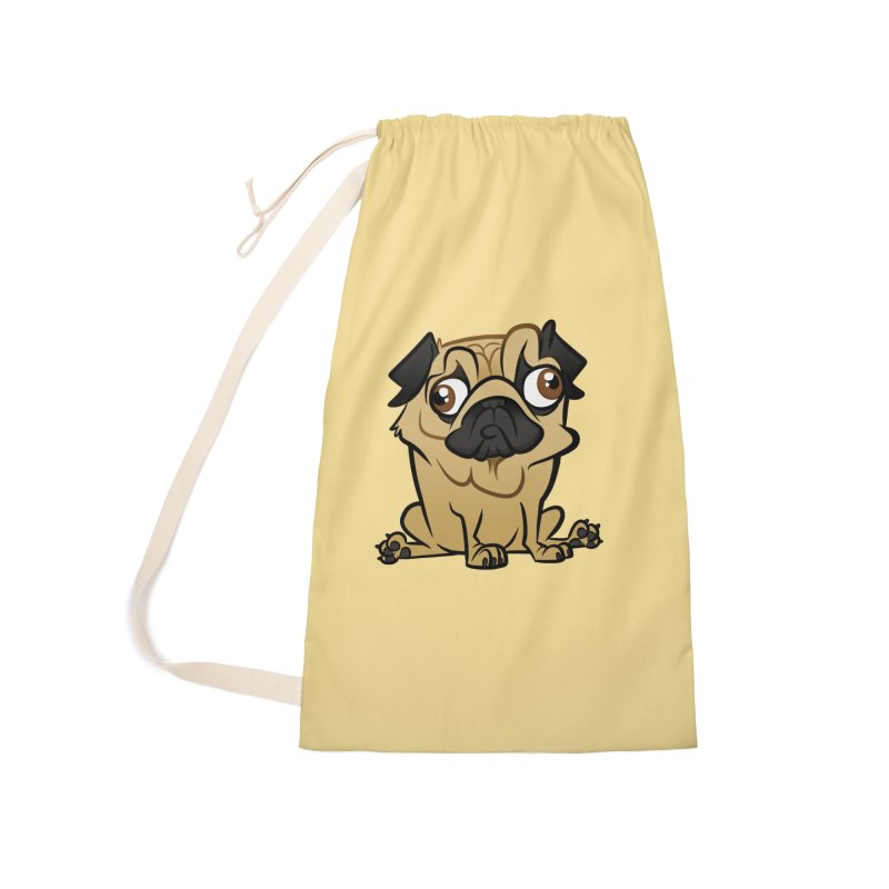 Pug Accessories Laundry Bag Bag by binarygod's Artist Shop