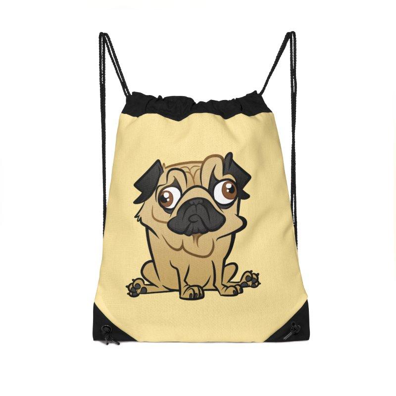 Pug Accessories Drawstring Bag Bag by binarygod's Artist Shop