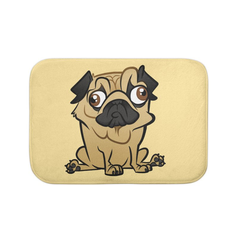 Pug Home Bath Mat by binarygod's Artist Shop