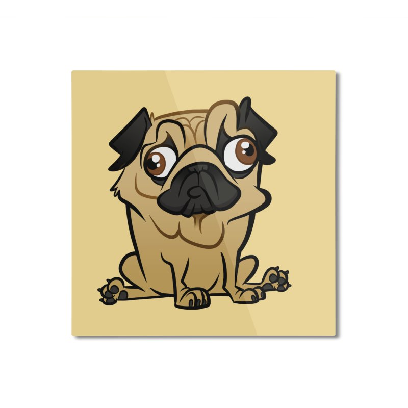 Pug Home Mounted Aluminum Print by binarygod's Artist Shop