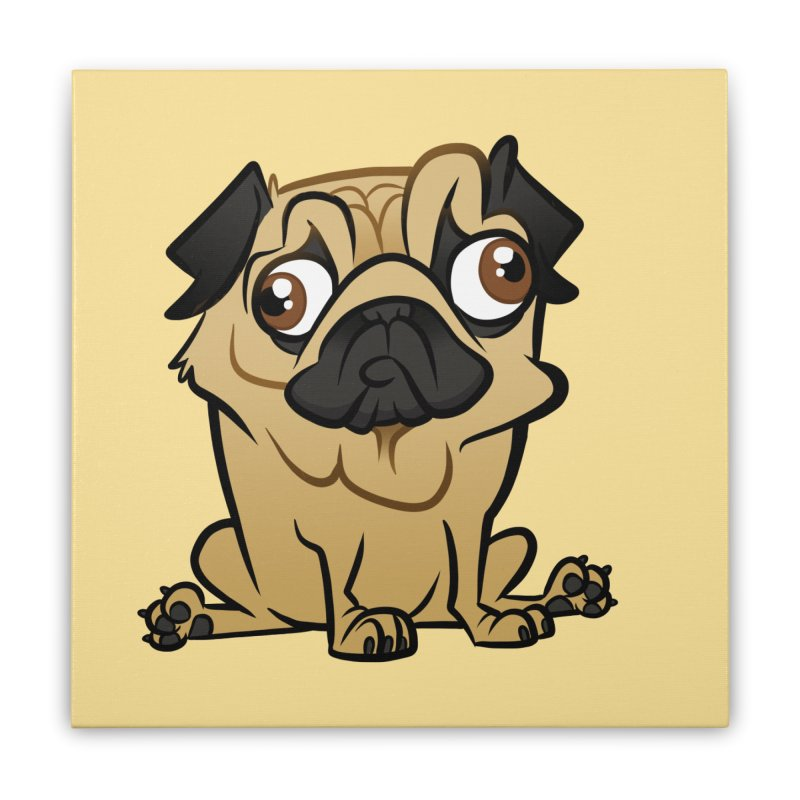 Pug Home Stretched Canvas by binarygod's Artist Shop