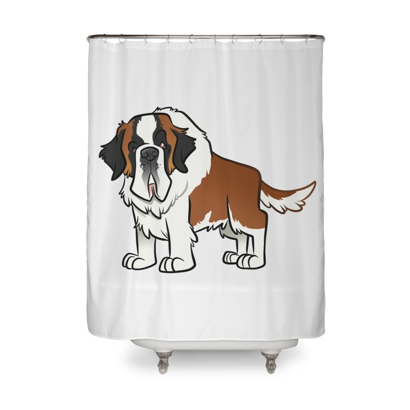 St. Bernard Home Shower Curtain by binarygod's Artist Shop