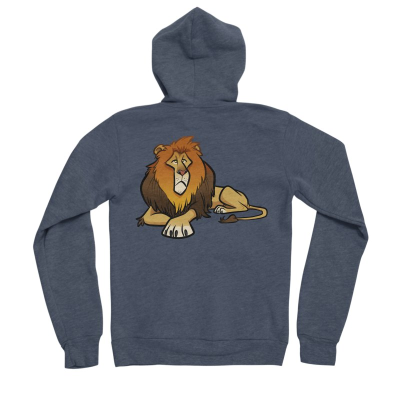 Lion Men's Sponge Fleece Zip-Up Hoody by binarygod's Artist Shop
