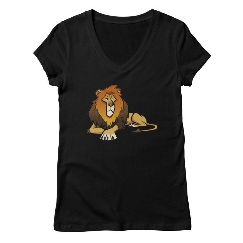 Lion Women's V-Neck by binarygod's Artist Shop
