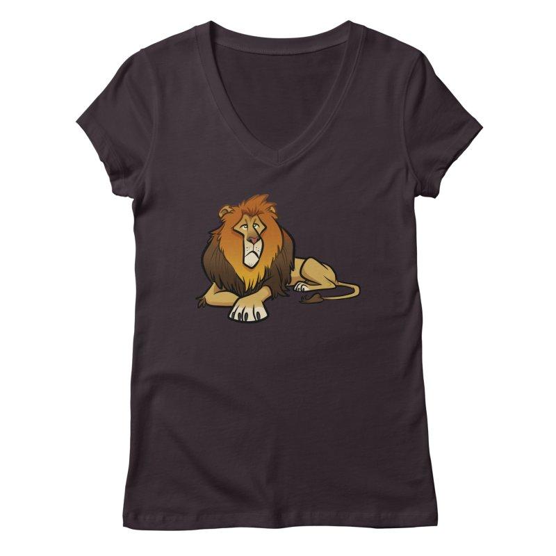 Lion Women's Regular V-Neck by binarygod's Artist Shop