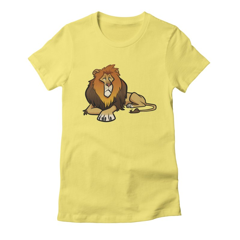 Lion Women's Fitted T-Shirt by binarygod's Artist Shop