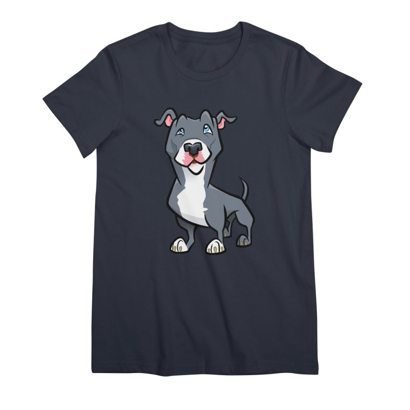 Blue Pit Bull Women's Premium T-Shirt by binarygod's Artist Shop