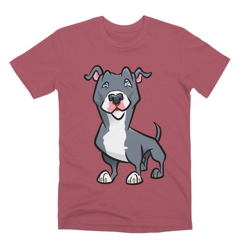 Blue Pit Bull Men's Premium T-Shirt by binarygod's Artist Shop
