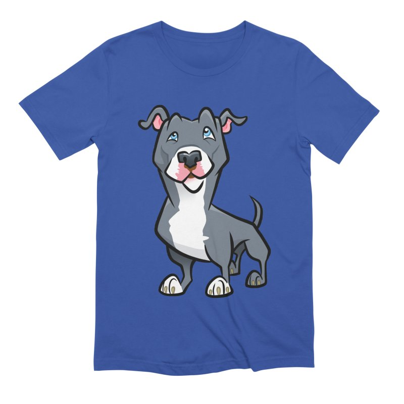 Blue Pit Bull Men's Extra Soft T-Shirt by binarygod's Artist Shop
