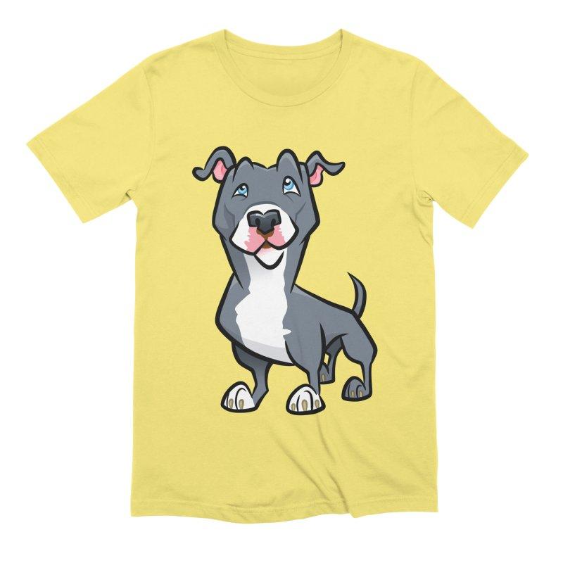 Blue Pit Bull Men's Extra Soft T-Shirt by binarygod's Artist Shop