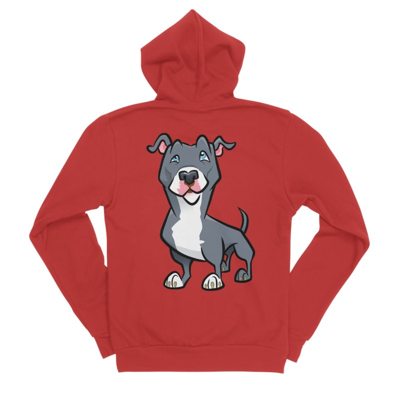 Blue Pit Bull Women's Zip-Up Hoody by binarygod's Artist Shop