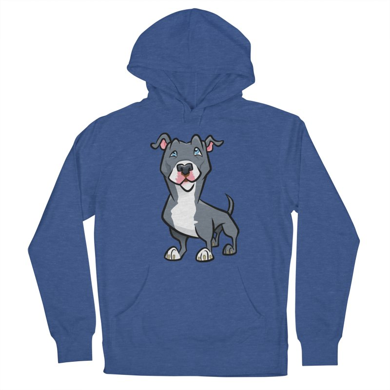 Blue Pit Bull Men's French Terry Pullover Hoody by binarygod's Artist Shop