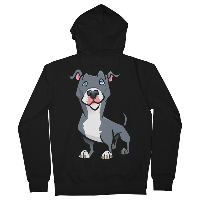 Blue Pit Bull Women's French Terry Zip-Up Hoody by binarygod's Artist Shop