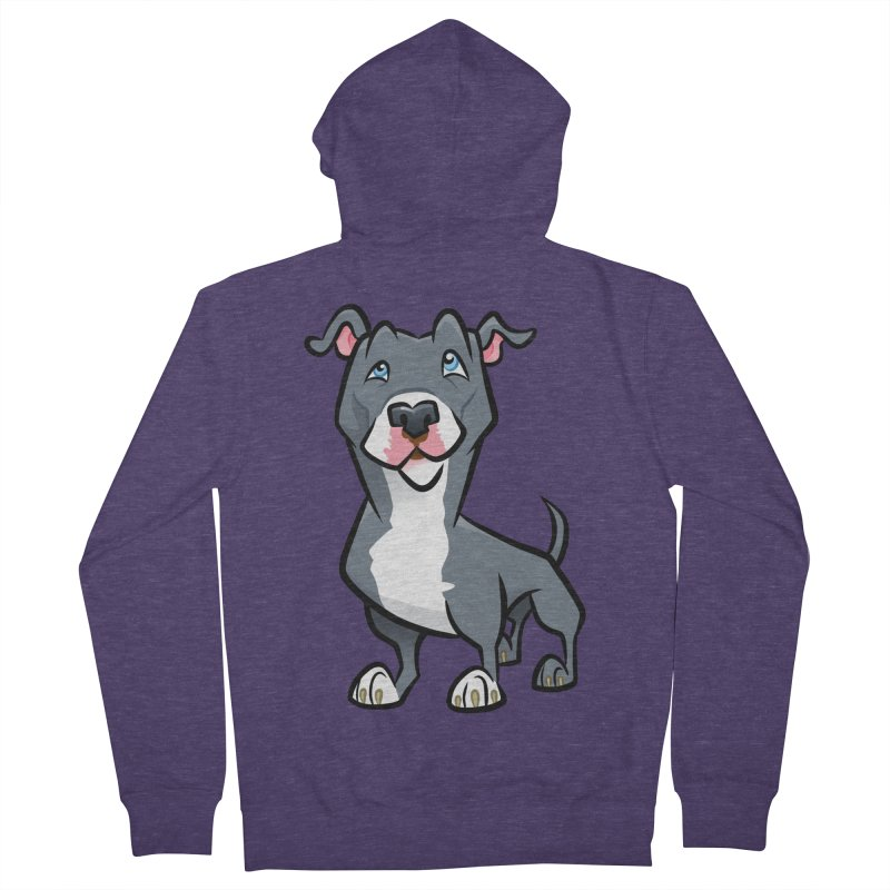 Blue Pit Bull Men's French Terry Zip-Up Hoody by binarygod's Artist Shop