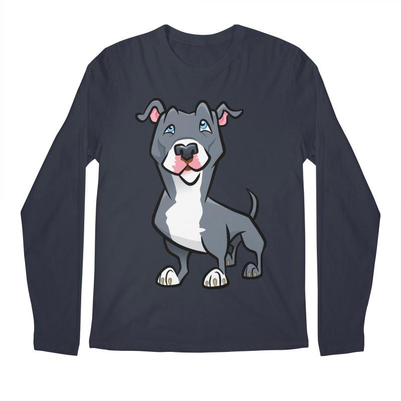 Blue Pit Bull Men's Regular Longsleeve T-Shirt by binarygod's Artist Shop