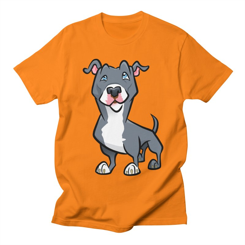 Blue Pit Bull Men's Regular T-Shirt by binarygod's Artist Shop