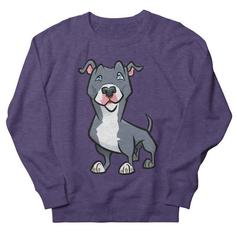 Blue Pit Bull Women's French Terry Sweatshirt by binarygod's Artist Shop