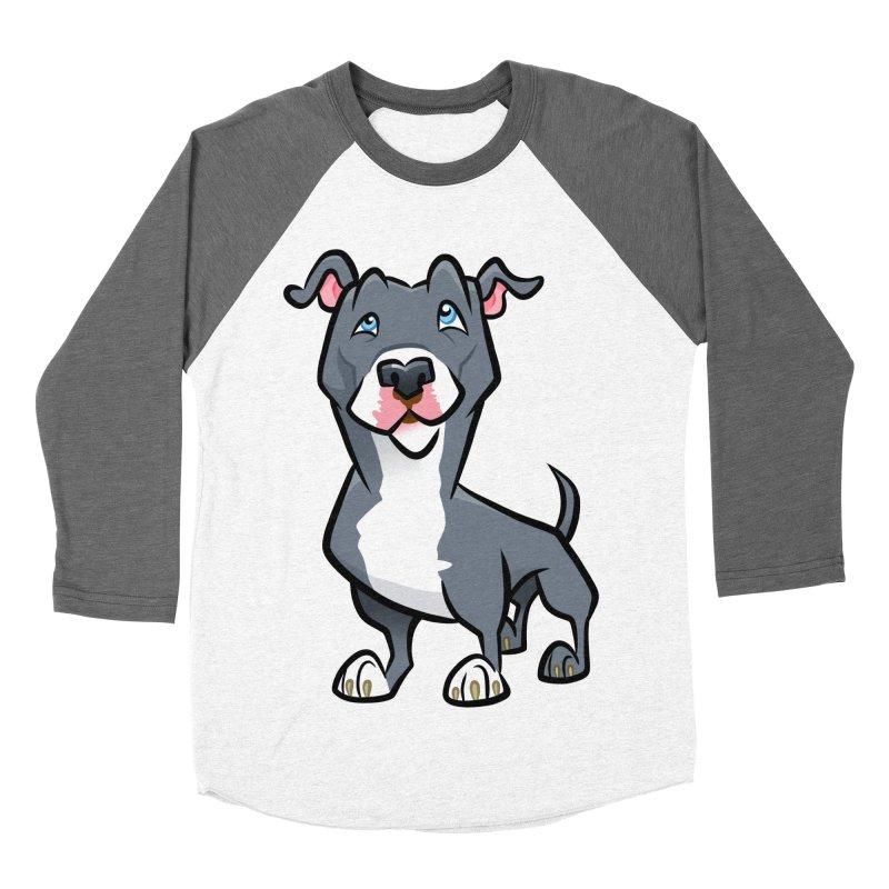 Blue Pit Bull Women's Baseball Triblend Longsleeve T-Shirt by binarygod's Artist Shop