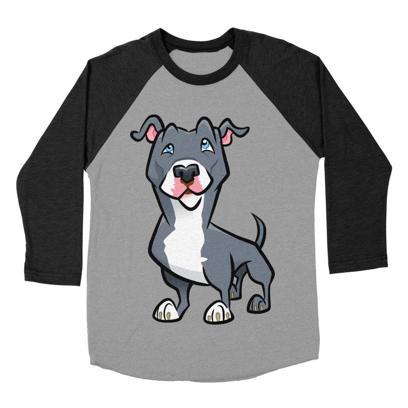 Blue Pit Bull Men's Baseball Triblend Longsleeve T-Shirt by binarygod's Artist Shop