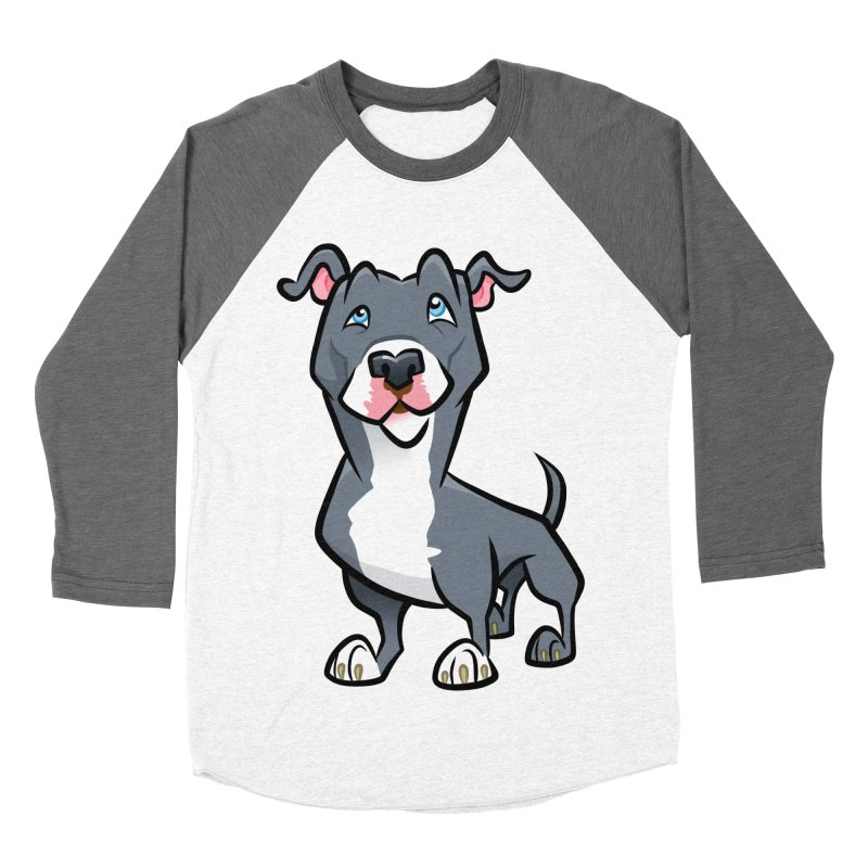 Blue Pit Bull Men's Baseball Triblend Longsleeve T-Shirt by binarygod's Artist Shop