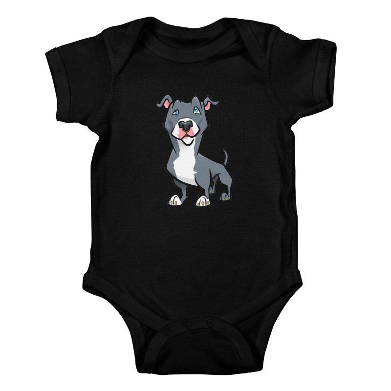Blue Pit Bull Kids Baby Bodysuit by binarygod's Artist Shop
