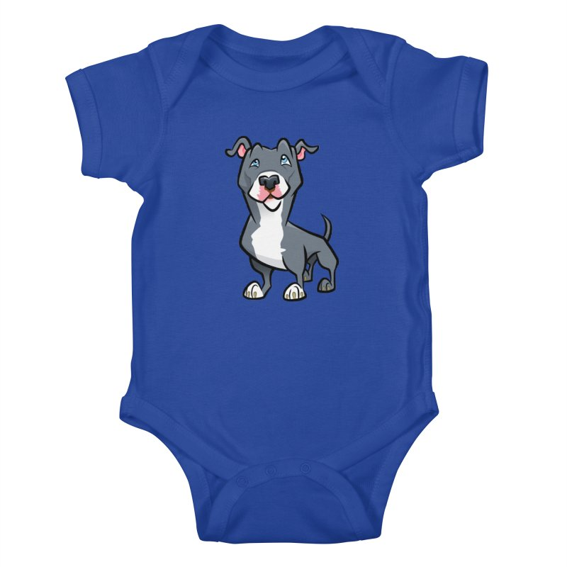 Blue Pit Bull Kids Baby Bodysuit by binarygod's Artist Shop