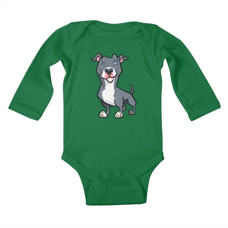Blue Pit Bull Kids Baby Longsleeve Bodysuit by binarygod's Artist Shop