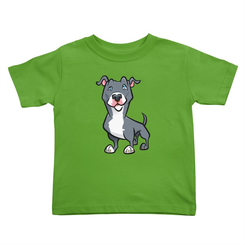 Blue Pit Bull Kids Toddler T-Shirt by binarygod's Artist Shop