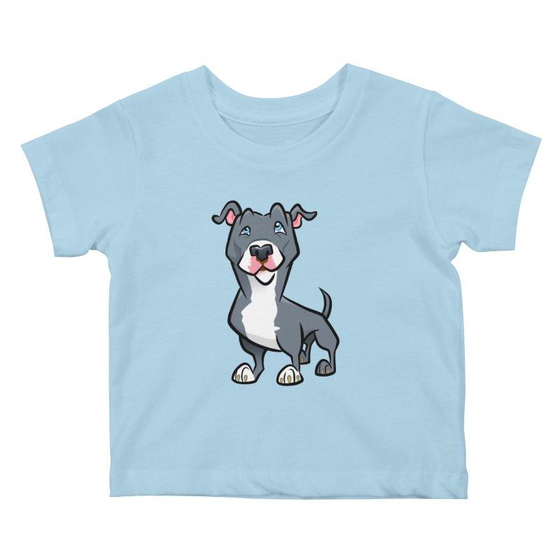 Blue Pit Bull Kids Baby T-Shirt by binarygod's Artist Shop