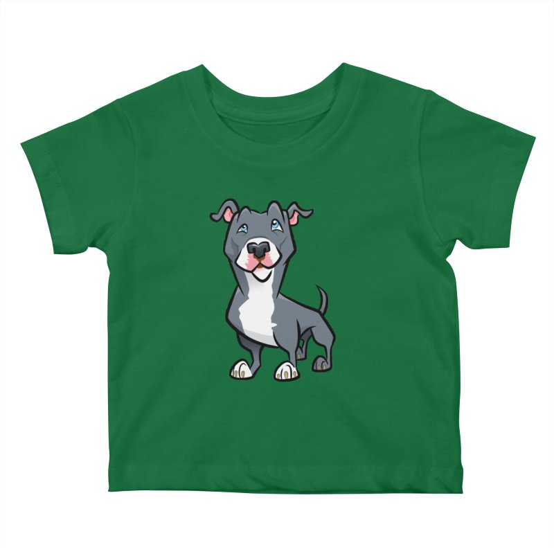 Blue Pit Bull Kids Baby T-Shirt by binarygod's Artist Shop