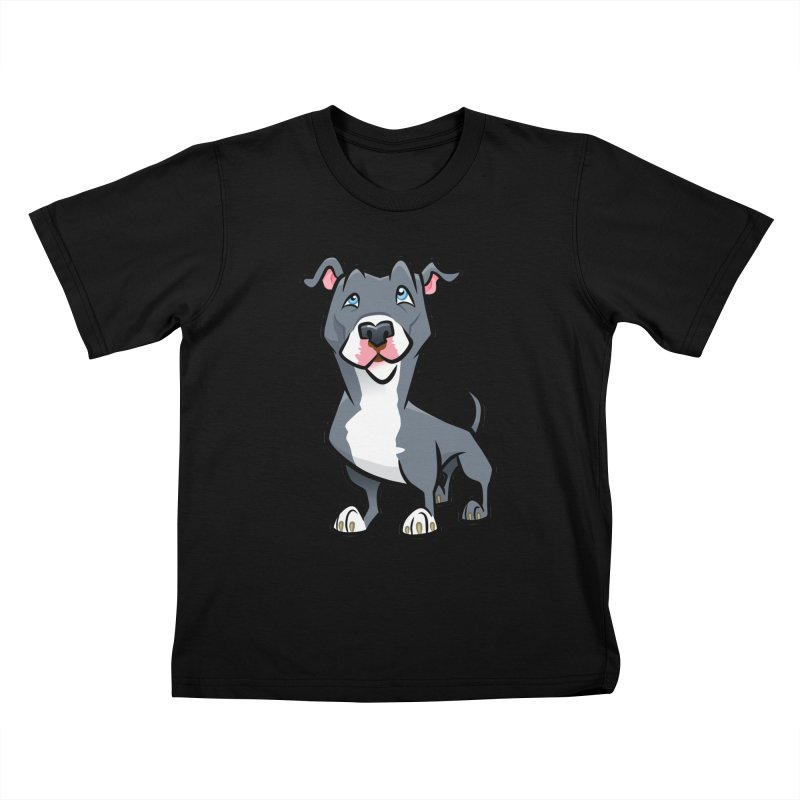 Blue Pit Bull Kids T-Shirt by binarygod's Artist Shop