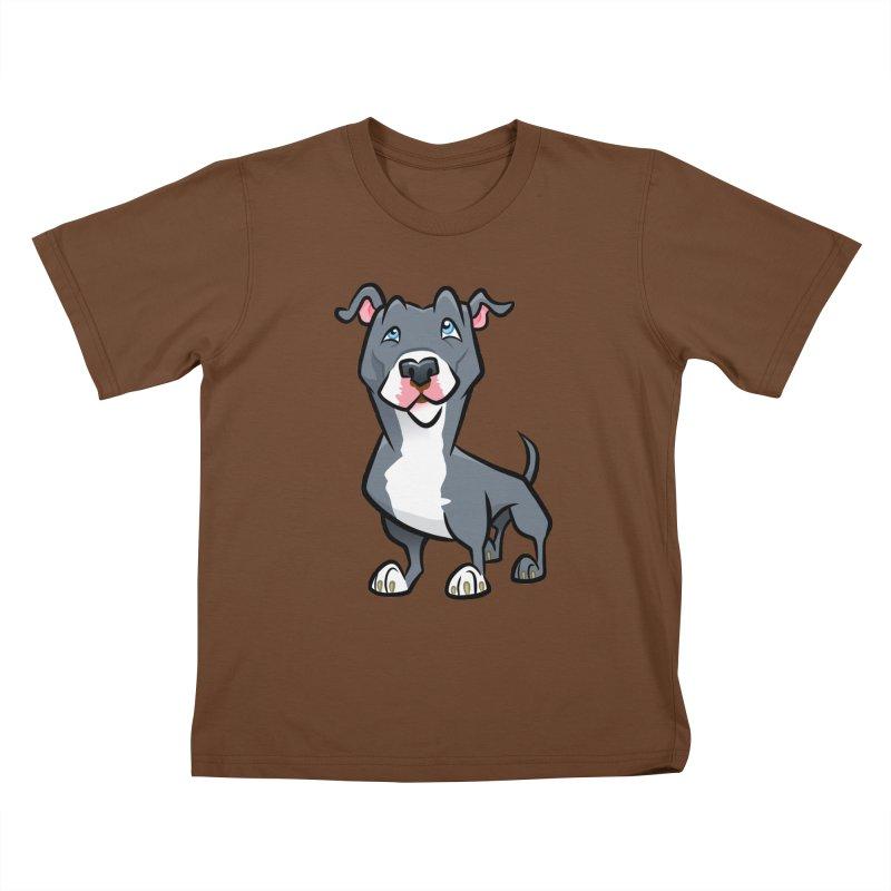 Blue Pit Bull Kids T-Shirt by binarygod's Artist Shop
