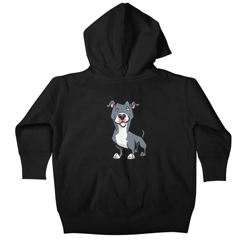 Blue Pit Bull Kids Baby Zip-Up Hoody by binarygod's Artist Shop