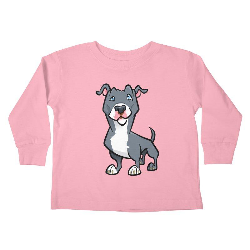 Blue Pit Bull Kids Toddler Longsleeve T-Shirt by binarygod's Artist Shop