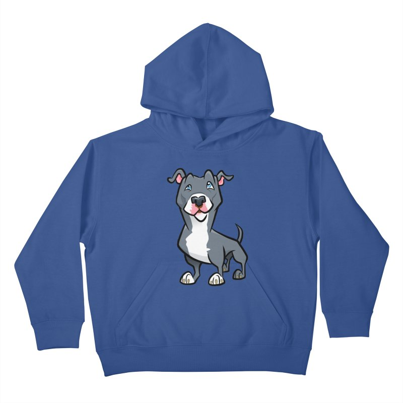 Blue Pit Bull Kids Pullover Hoody by binarygod's Artist Shop
