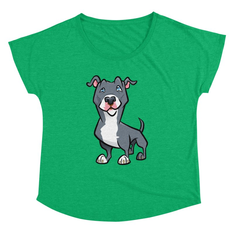 Blue Pit Bull Women's Dolman Scoop Neck by binarygod's Artist Shop