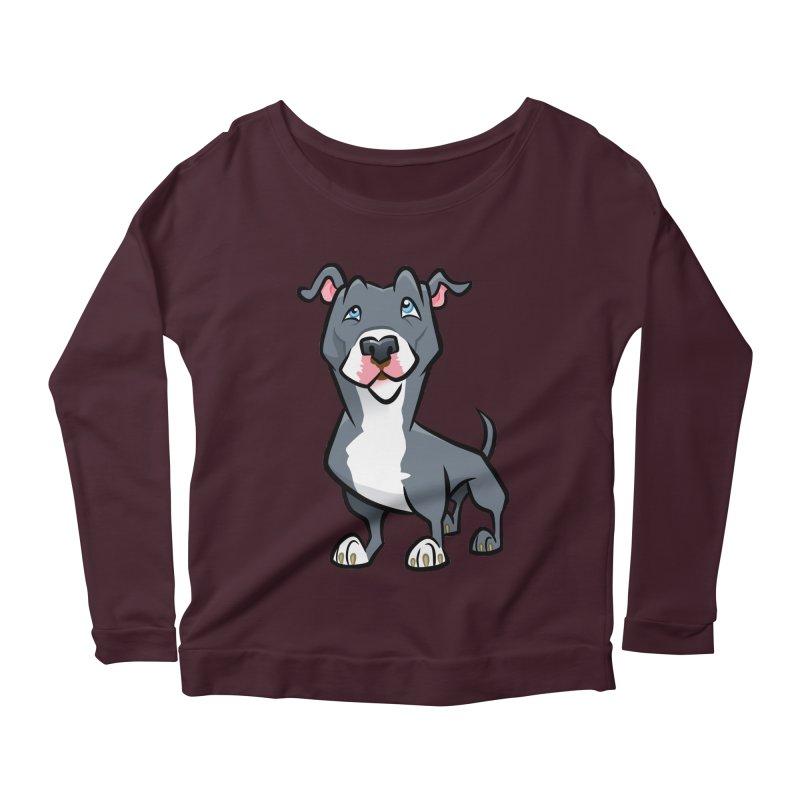 Blue Pit Bull Women's Scoop Neck Longsleeve T-Shirt by binarygod's Artist Shop