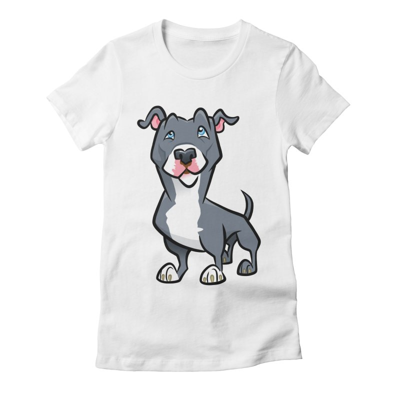 Blue Pit Bull Women's Fitted T-Shirt by binarygod's Artist Shop