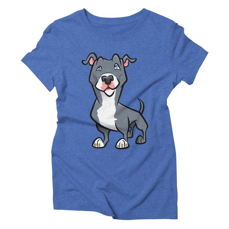 Blue Pit Bull Women's Triblend T-Shirt by binarygod's Artist Shop