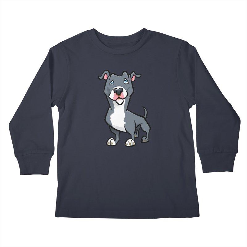 Blue Pit Bull Kids Longsleeve T-Shirt by binarygod's Artist Shop