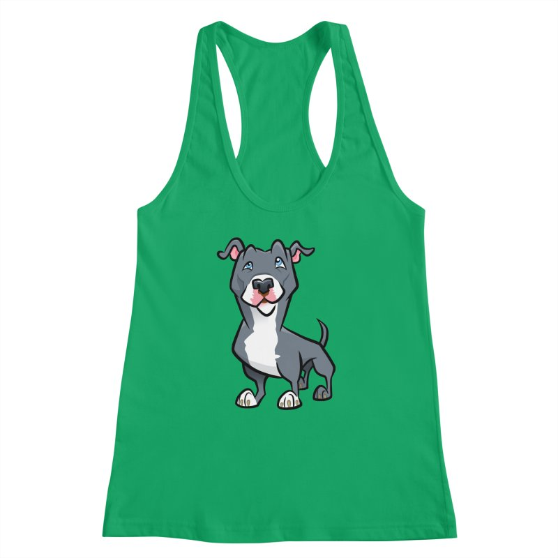 Blue Pit Bull Women's Racerback Tank by binarygod's Artist Shop