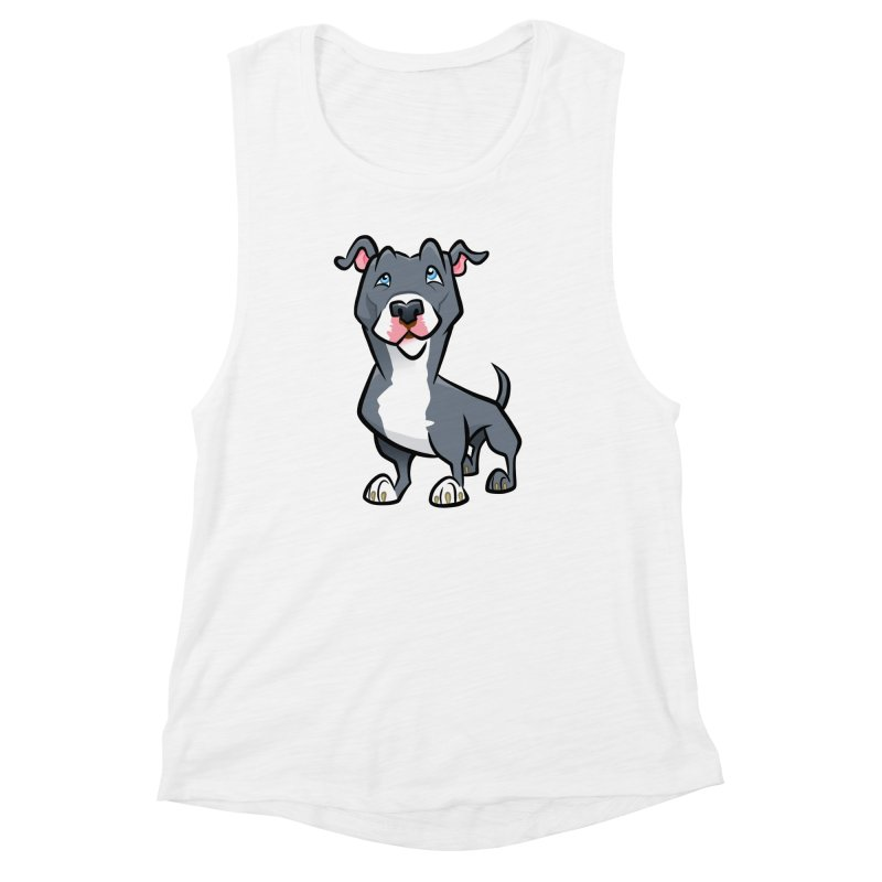 Blue Pit Bull Women's Muscle Tank by binarygod's Artist Shop