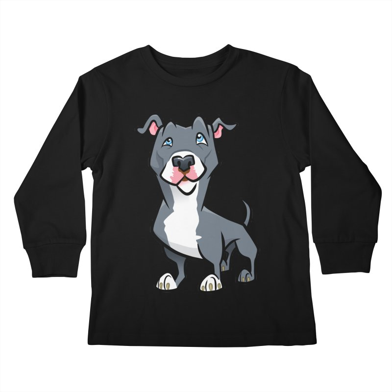 Blue Pit Bull Kids Longsleeve T-Shirt by binarygod's Artist Shop